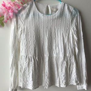 🌼Loft white long sleeve top sz XXSP